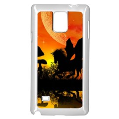Beautiful Unicorn Silhouette In The Sunset Samsung Galaxy Note 4 Case (White)