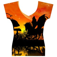 Beautiful Unicorn Silhouette In The Sunset Women s V-Neck Cap Sleeve Top