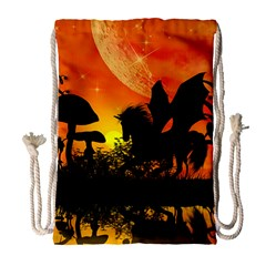 Beautiful Unicorn Silhouette In The Sunset Drawstring Bag (Large)
