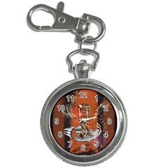 Microphone With Piano And Floral Elements Key Chain Watches
