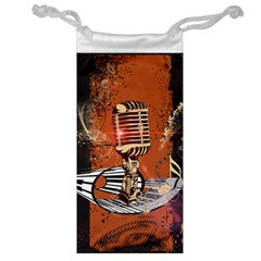 Microphone With Piano And Floral Elements Jewelry Bags