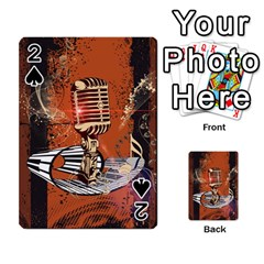 Microphone With Piano And Floral Elements Playing Cards 54 Designs
