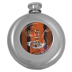 Microphone With Piano And Floral Elements Round Hip Flask (5 oz)