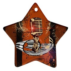 Microphone With Piano And Floral Elements Star Ornament (Two Sides)