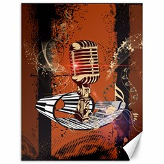Microphone With Piano And Floral Elements Canvas 12  x 16