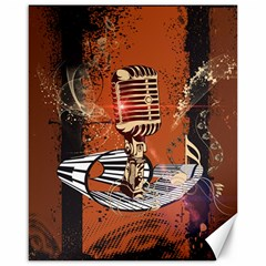Microphone With Piano And Floral Elements Canvas 16  x 20