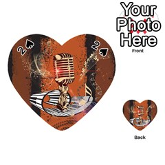 Microphone With Piano And Floral Elements Playing Cards 54 (Heart)