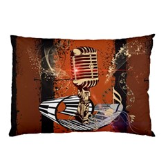 Microphone With Piano And Floral Elements Pillow Cases
