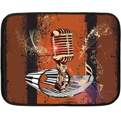 Microphone With Piano And Floral Elements Double Sided Fleece Blanket (Mini)