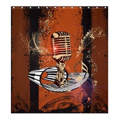 Microphone With Piano And Floral Elements Shower Curtain 66  X 72  (large)