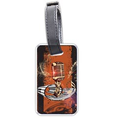 Microphone With Piano And Floral Elements Luggage Tags (Two Sides)