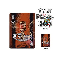 Microphone With Piano And Floral Elements Playing Cards 54 (Mini)