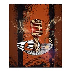 Microphone With Piano And Floral Elements Shower Curtain 60  x 72  (Medium)