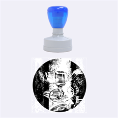 Microphone With Piano And Floral Elements Rubber Round Stamps (Medium)