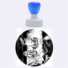 Microphone With Piano And Floral Elements Rubber Round Stamps (Large)