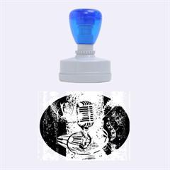 Microphone With Piano And Floral Elements Rubber Oval Stamps