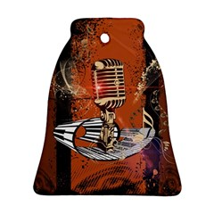 Microphone With Piano And Floral Elements Bell Ornament (2 Sides)