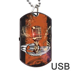 Microphone With Piano And Floral Elements Dog Tag USB Flash (One Side)