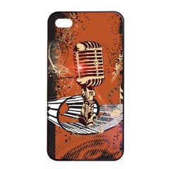 Microphone With Piano And Floral Elements Apple iPhone 4/4s Seamless Case (Black)