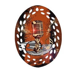 Microphone With Piano And Floral Elements Oval Filigree Ornament (2-Side)