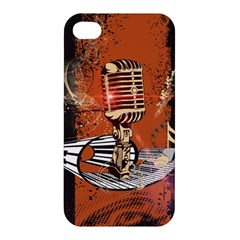 Microphone With Piano And Floral Elements Apple iPhone 4/4S Hardshell Case
