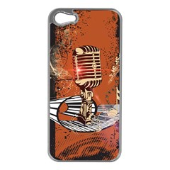 Microphone With Piano And Floral Elements Apple Iphone 5 Case (silver)