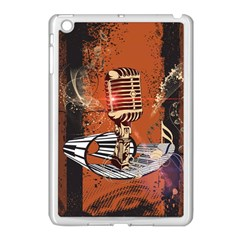 Microphone With Piano And Floral Elements Apple iPad Mini Case (White)