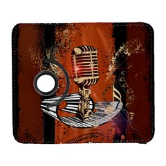 Microphone With Piano And Floral Elements Samsung Galaxy S  III Flip 360 Case