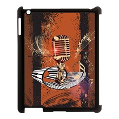 Microphone With Piano And Floral Elements Apple iPad 3/4 Case (Black)