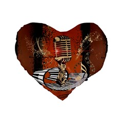 Microphone With Piano And Floral Elements Standard 16  Premium Heart Shape Cushions
