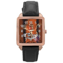 Microphone With Piano And Floral Elements Rose Gold Watches