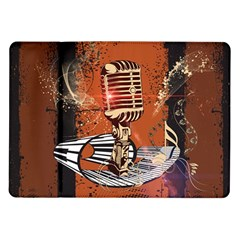 Microphone With Piano And Floral Elements Samsung Galaxy Tab 10.1  P7500 Flip Case
