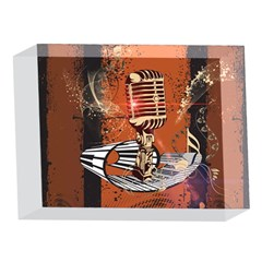 Microphone With Piano And Floral Elements 5 x 7  Acrylic Photo Blocks