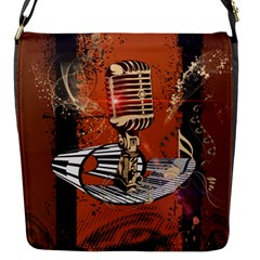 Microphone With Piano And Floral Elements Flap Messenger Bag (S)