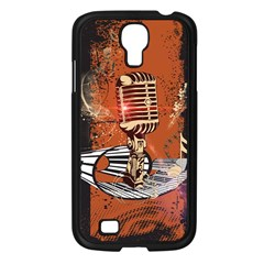 Microphone With Piano And Floral Elements Samsung Galaxy S4 I9500/ I9505 Case (Black)