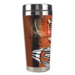 Microphone With Piano And Floral Elements Stainless Steel Travel Tumblers