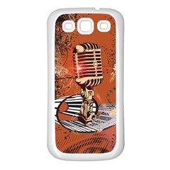 Microphone With Piano And Floral Elements Samsung Galaxy S3 Back Case (White)