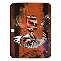 Microphone With Piano And Floral Elements Samsung Galaxy Tab 3 (10.1 ) P5200 Hardshell Case