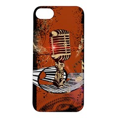 Microphone With Piano And Floral Elements Apple iPhone 5S Hardshell Case