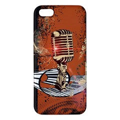 Microphone With Piano And Floral Elements iPhone 5S Premium Hardshell Case