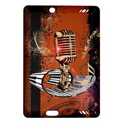 Microphone With Piano And Floral Elements Kindle Fire HD (2013) Hardshell Case