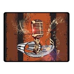 Microphone With Piano And Floral Elements Double Sided Fleece Blanket (Small)