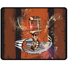 Microphone With Piano And Floral Elements Double Sided Fleece Blanket (Medium)