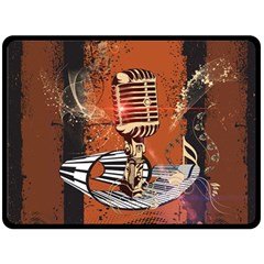 Microphone With Piano And Floral Elements Double Sided Fleece Blanket (large)
