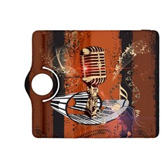 Microphone With Piano And Floral Elements Kindle Fire HDX 8.9  Flip 360 Case