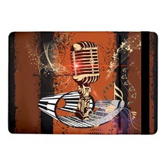 Microphone With Piano And Floral Elements Samsung Galaxy Tab Pro 10.1  Flip Case