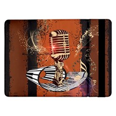 Microphone With Piano And Floral Elements Samsung Galaxy Tab Pro 12.2  Flip Case
