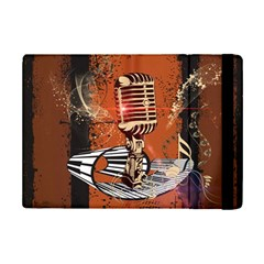 Microphone With Piano And Floral Elements iPad Mini 2 Flip Cases