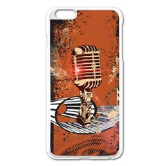 Microphone With Piano And Floral Elements Apple iPhone 6 Plus/6S Plus Enamel White Case