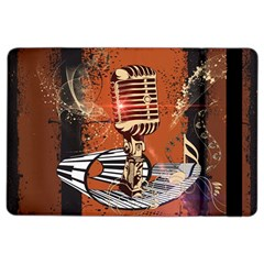 Microphone With Piano And Floral Elements iPad Air 2 Flip